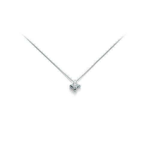 Catenina girocollo Miluna con Punto Luce e Diamante Naturale 0.07ct in oro bianco 9kt CLD2937-007G7X