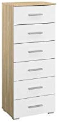 Kommode 6 Schubk en braun WeißKinderzimmer Jugendzimmer Schrank Sideboard Schubladenkommode Aufbewahrung Mehrzweckschrank
