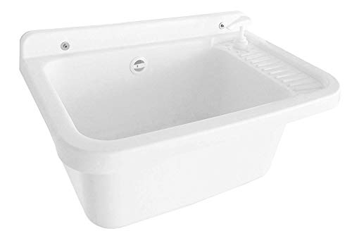 Adventa - Lavabo de Pared con dispensador de jabón, de Resina de Exterior, Color Blanco, 59 x 39 x 28 cm