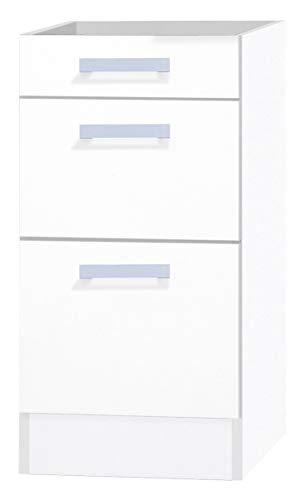 OPTIFIT Küchen-Unterschrank 3 Schubladen ohne Arbeitsplatte »Oslo«, weiß, 40 cm, UO436-9+KUOS
