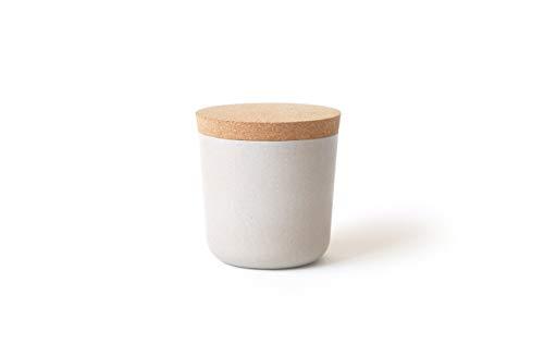 EKOBO Vorratsdose S (250 ml), stone / sandgrau, ø 8 x 8,5 cm, zur Aufbewahrung von Salz, Zucker, Tee, Gewürzen und mehr
