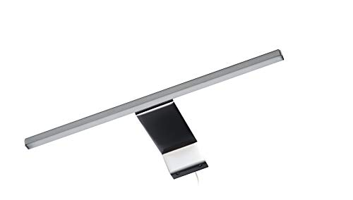 FACKELMANN LED-Aufsatzleuchte/Maße (B x H x T): ca. 34 x 3,5 x 16,5 cm/hochwertige LED-Leuchte fürs Badezimmer/Spiegelleuchte für einen Badschrank/Farbe: Silber/Energieeffizienzklasse A+++