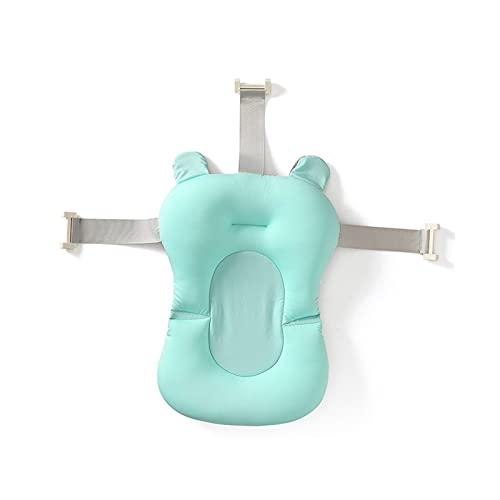 LVLUOKJ Almohadilla de baño Antideslizant para bebé Flotante Suave cojín de Soporte con Hebillas (Color : Green)