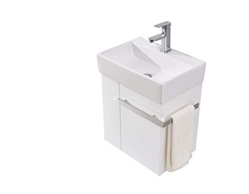 Badmöbel-Set Compact 500 für Gäste-WC - Weiß matt, Ablaufgarnitur/Pop-up:Ohne Ablaufgarnitur