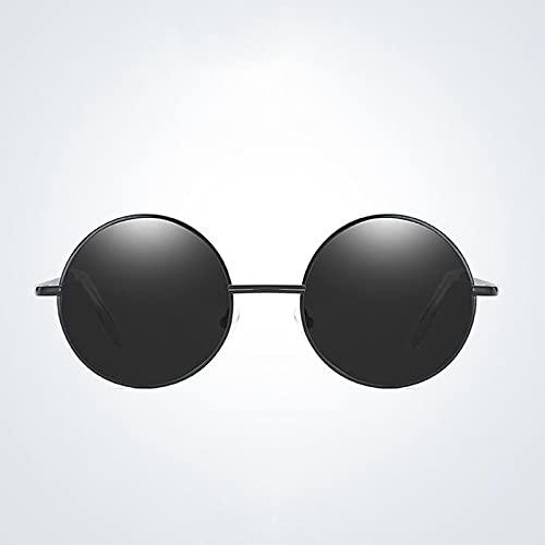 Gafas De Moda Gafas De Sol Gafas De Sol Redondas para Hombre Gafas De Sol Polarizadas para Hombre Gafas De Sol Retro para Hombre Negro Gris