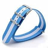 AFAY Bandas de reloj de moda para hombre y mujer, correa de reloj rojo, blanco, azul, 16, 18, 22, 24 mm, tela de Nato, correa de nailon (color de la correa: 33, ancho de la correa: 24 mm)