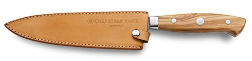 Germancut Chefstalk Knife - Cuchillo de cocina (acero de damasco, mango de madera de oliva, funda de piel, acero de carbono VG10)