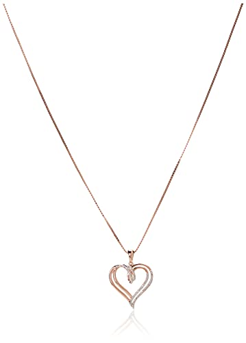 """14k Rose Gold over Sterling Silver Diamond Double Heart Pendant Necklace (1/10 cttw),18"""""""