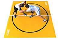 """Wrestling Mat - Remnant, 10'x10' (Two 5'x10' Pieces), Mat:Turquoise, Markings:White, 1.25"""""""