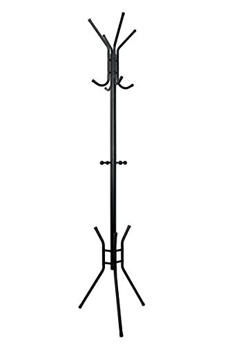 Taimani Metal Coat Rack - Sturdy Clothes Stand - 12 Hooks - Hall Tree Organiser - Free Standing - Easy Assembly (Black & White) (Black)