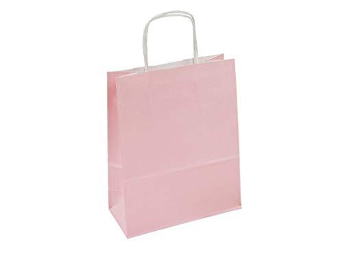 250 papieren draagtassen, papieren tassen, papieren tassen, draagtassen, 80 g/m2, wit met platte handgreep, groot 18 x 8 x 23 pastelroze