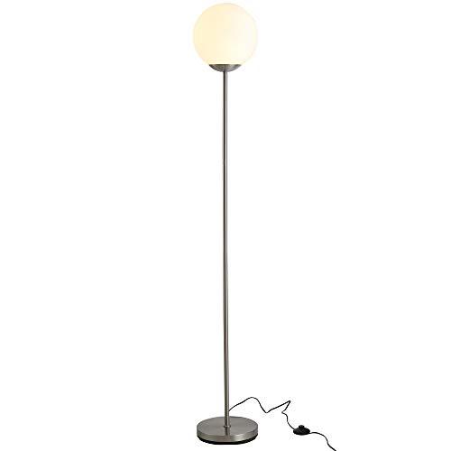 HOMCOM 171cm Glass Globe Floor Lamp Metal Frame Sphere Light Pedal Switch Home Office Living Room Modern Unique Standing Beautiful Furnishing - Grey