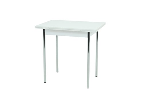 Küchentisch Bonn I, Holzwerkstoff Dekor Weiß, Metallgestell chrom, ausziehbar 90-142 x 65 x 74 cm