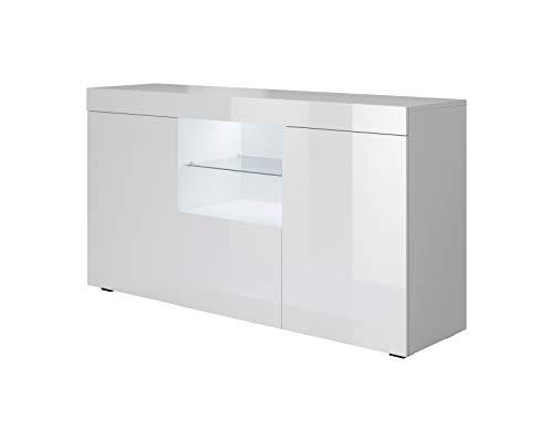 Muebles Bonitos | Aparador Moderno Sefora | Ancho 135cm x Alto 70 cm x Profundo 34 cm | Mueble de Melamina Brillo | Color Blanco