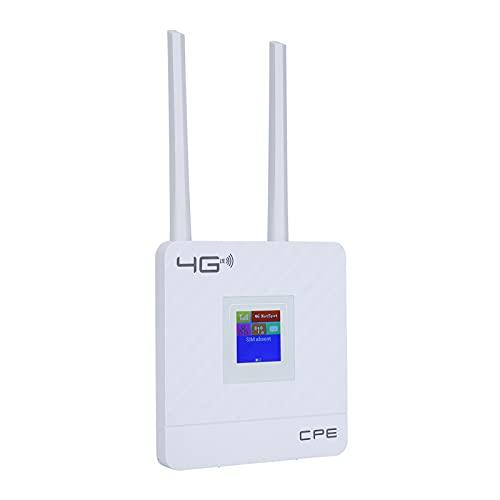 Enrutador 4G WiFi, portátil 150mbps Desbloqueado 4G LTE CPE Enrutador inalámbrico Punto de Acceso WiFi, con Ranura para Tarjeta SIM Puerto WAN/LAN Antena Externa(EU)