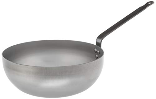 Mauviel Made In France M'Steel Black Steel Splayed Curved Sauté Pan, 11'/28cm, Steel