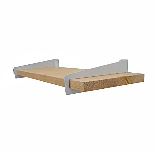 Pack 2 estanterias de Pared - estanteria de Madera Blanca, Nogal o Natural - Made in BCN - Incluye Tacos y Tornillos - Estante para Libros - balda, libreria, repisa - (Natural Soporte Blanco)