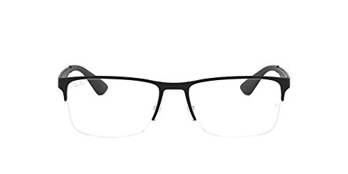 Ray-Ban RX6335 Metal Rectangular Prescription Eyeglass Frames, Matte Black/Demo Lens, 56 mm