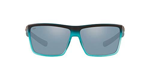 Costa Del Mar Men's Rinconcito Polarized Rectangular Sunglasses, Blue/Grey Silver Mirrored Polarized-580P, 60 mm