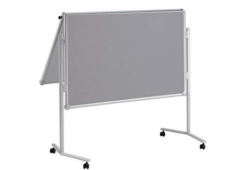 MAUL Professionelle Moderationstafel 150 x 120cm, Pinnfähige Textiloberfläche, Beidseitig nutzbare mobile Stellwand, 4 Rollen und Ablageschale, Klappbar, Grau, 6381382, 1 Stück