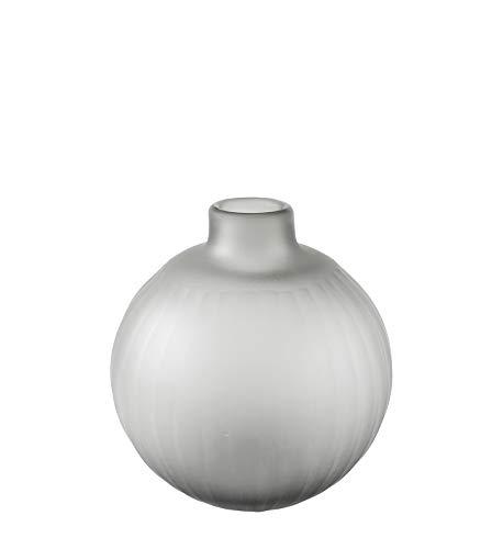Kaheku Vase Tamura rund grau matt Schliff, Durchmesser 12,5 cm, Höhe 13,5 cm Farbglas durchgefärbt 877006705