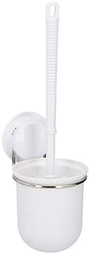 Guilty Gadgets Soporte para escobillero de inodoro sin perforación/ventosa blanco, sistema de vacío, acero inoxidable, nunca se oxida, para baño