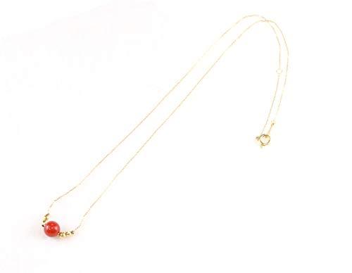 【セール品】 イタリア産 赤 珊瑚 サンゴ 1丸珠 ダイヤモンド K18YG イエロー ゴールド 御守り 幸運 プレゼント 3月誕生石 幸福 長寿 御守り 幸運 リラックス NC-2