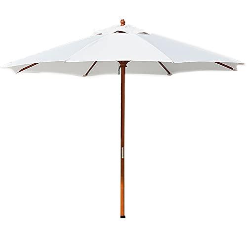 Lqdp Sombrilla Sombrilla con Poste de Madera, sombrilla de jardín para balcón al Aire Libre con manivela y 8 Varillas Resistentes, protección UV, protección Solar