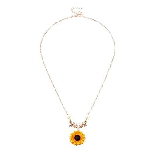 Collar de perlas de moda Collar colgante Patrón de girasol Collar único