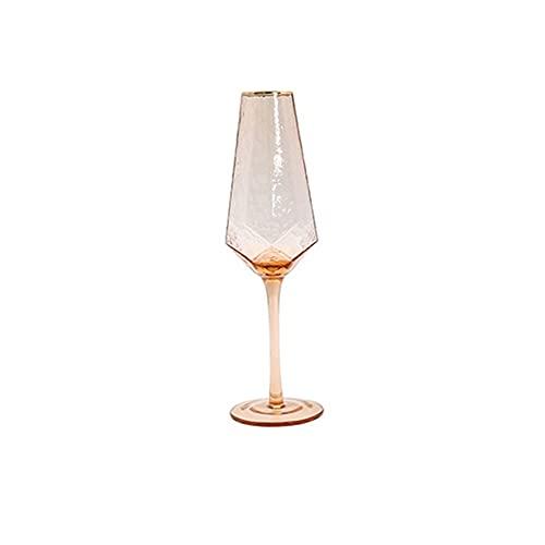 Agnus Vasos de Vidrio Vaso geométrico Vino Copas Martillado sin Plomo champán Vidrio Oro Lado Rojo Vino Copa de Vidrio Jugo de Vidrio Gafas de Agua (Color : Champagne Glass)