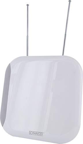 SCHWAIGER -20341- Antena DVBT-2 de interior con amplificador | máxima fuerza de la señal | integ. Filtro de corte LTE | para la recepción de DVB-T DAB+ y FM | conexión con el receptor DVBT-2 y la TV
