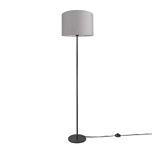 Paco Home LED Stehlampe Modern Wohnzimmer Schlafzimmer, Einbeinig, Deko Stehleuchte E27, Lampenfuß:Einbeinig Schwarz, Lampenschirm:Grau (Ø38 cm)