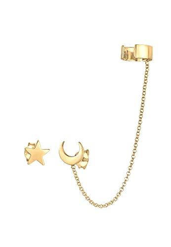 Elli Pendientes Pendientes de mujer Astro Estrellas Luna Trend Blogger en plata de ley 925 bañada en oro