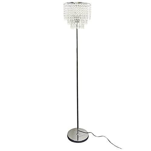 Modern Jewelled Floor Lamp Standard Light, Polished Chrome with Acrylic Crystal Shade, Glam Floor Light, 153cm