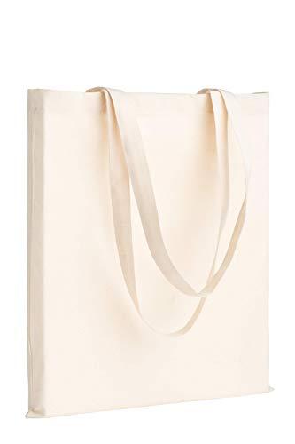 POLHIM Lot de 24 Tote Bags Vierges 38x42 cm. Sacs en 100% Coton, Réutilisables pour Les Courses, Toile en Tissu Naturel. Convient pour Le DIY, Publicité, Tirage au Sort, Cadeaux, Animation
