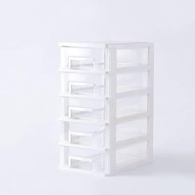 JSJJAKM Caja de almacenamiento de escritorio de 4 capas de cajón de plástico para documentos, organizador de almacenamiento de cosméticos y organizador de escritorio (color: 5 l blanco)