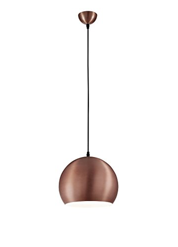 Reality Leuchten Metall Pendelleuchte, außen kupferfarben, innen 1 x E27 ohne LM, 30 cm, Abhängung 150 cm, weiß R30101029