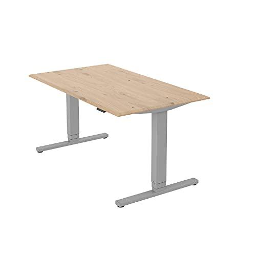 boho office® Premium Line - TÜV geprüfter, elektrisch stufenlos höhenverstellbarer Schreibtisch in Silber (RAL9006), inkl. Tischplatte in 140 x 80 cm in Wildeiche (Massivholz)