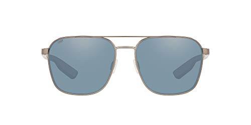 Costa Del Mar Men's Wader Rectangular Sunglasses, Brushed Gunmetal/Grey Silver Mirrored Polarized 580P, 58 mm