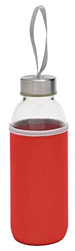 TOPICO Take Well Botellas térmicas, Cristal, SBR, Acero Inoxidable, Rojo, translúcido