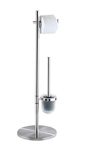 WENKO Stand WC-Garnitur Pieno Edelstahl - WC-Bürstenhalter, Edelstahl rostfrei, 26.5 x 79 x 25.5 cm, Satiniert