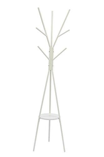 Home-Like Ingresso Appendiabiti Moderno Funzionale in Metallo da Terra per Garage Piano Ufficio Appendiabito Armadio 45 x 45 x 180 cm bianca