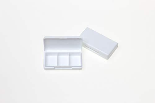 Colour-Bags Home & Living 1x Pillendose mit 3 Fächern | Größe 6,5 x 3,5 x 1,5 cm | Kunststoff weiß | Pillenbox | Tablettenbox | Tablettendose für Urlaub und Reise