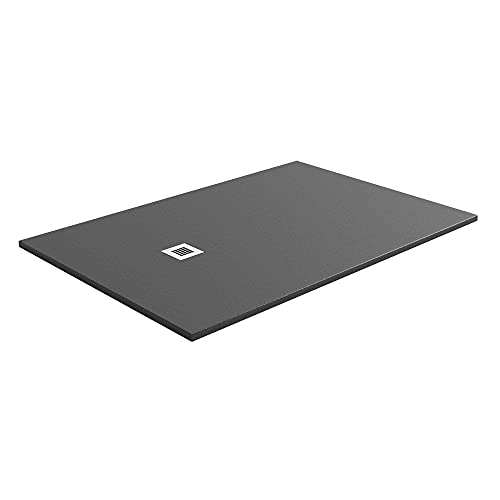Talia Slate Effect Natural Stone Resin Anti Slip Low Profile Rectangle Shower Tray Includes Waste 1400 x 800 – Anthracite
