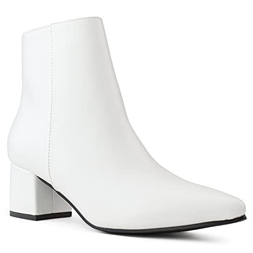 Women's Walking Block Heel Side Zip Slim Fit Ankle Bootie WHITE PU Size.8.5