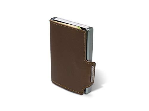 Mondraghi® Geldbörse The ORIGINAL Brown Stitched | Aluminiumrahmen | RFID Schutz | Echtes Leder | Kartenetui | Geldscheinklammer