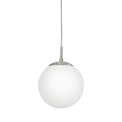 Eglo 85261 lampadario Rondo con vetro opale opaco, diametro 20 cm, acciaio, in nichel opaco, argento