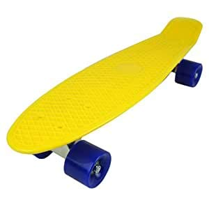 Retro Skateboard Cruiser Style 22 inch Complete With Mini Plastic Board and Aluminium Trucks Perfect For Adults and Kids and Beginners Comes With FREE Bolt Wrench (Bee Sting Yellow On Black)