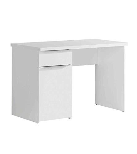 Forte Mesa de Escritorio, Modelo White, Mesa de Ordenador con Amplio Espacio de almacenaje y un Cajon 110cm X 60 cm X 77cm (Blanco)