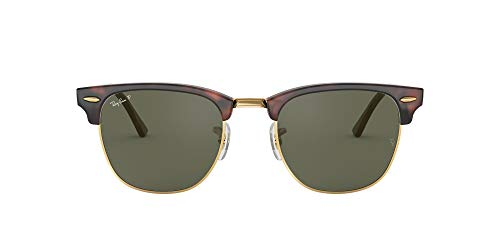 Ray-Ban CLUBMASTER – RED HAVANA Frame CRYSTAL GREEN POLARIZED Lenses 49mm Polarized